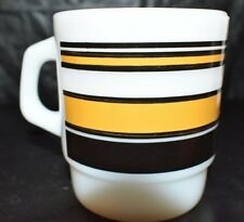 Fire King Anchor Hocking Yellow And Black Striped Coffee Mug Euc