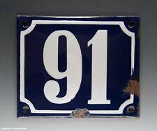 EMAILLE, EMAIL-HAUSNUMMER 91 in BLAU/WEISS um 1950-1955
