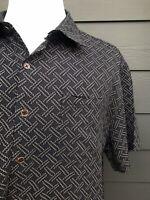 Nat Nast Blackish Blue Silk Blend Men's Printed Short Sleeves Shirt Size XL