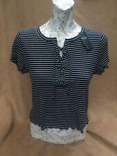 New Ladies / Girls Hollister Navy Stripe Slim Crop T-Shirt Top Size L.