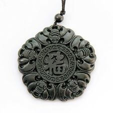 Black Green Jade Five Happy Lucky Bats Word FU Amulet Pendant