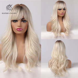 Long Wavy Natural Wigs Ombre Brown to Light Blonde With Bangs For Women Cosplay