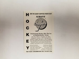 Albany Choppers 1990/91 IHL Minor Hockey Pocket Schedule - Kemp's (RK)