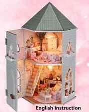 Wood Miniature Dolls house DIY Kit w/ Light - Lovely Villa+Led light+Furniture