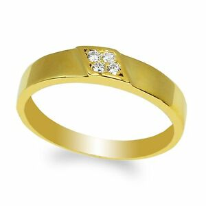 JamesJenny Sterling Silver Yellow Round CZ Embedded Wedding Band Ring Size 4-10