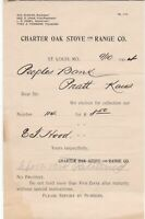 U. S. Charter Oak Stove and Range Co. St. Louis, Mo. 1904 Invoice Note Ref 39373