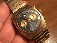 Very Rare Vtg Glycine Camaro Chronograph Landeron Movement Gold Plated Men Watch