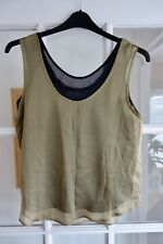 Roman originals ladies silky feel 2 layer sleeveless top black/green Size 14