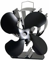 4-Blade Heat Powered Stove Fan for Wood / Log Burner/Fireplace increases 80% ...