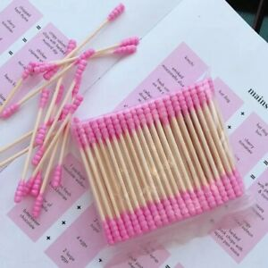 Pink Cotton Buds, Super High Quality Bamboo Q Tips [100 pack]