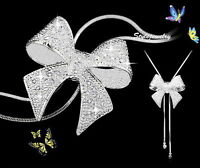 White Gold Filled Crystal Bow Women Adjustable Long Chain Necklace N41