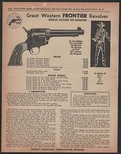 1959 GREAT WESTERN Frontier Single Action Revolver PRINT AD Vintage Advertising