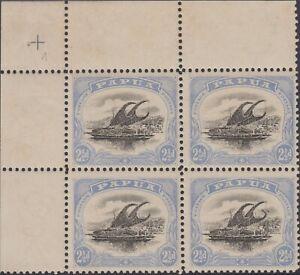Stamp 1907 small Papua 2&1/2d Lakatoi SG51a top left corner block 4 variety