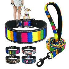 """2"""" Reflective Dog Wide Collar and Leash Floral Padded for Medium Large Dog S M L"""