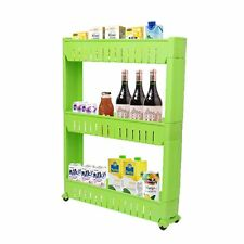 Green 3-Tier Slim Slide Out Kitchen Trolley Rack Holder Storage Shelf on Wheels