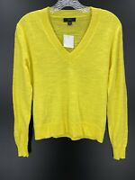 J Crew  Woman's Yellow XXS Classic V-Neck Long Sleeve Cotton Sweater