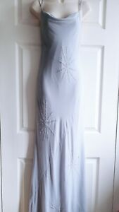 Jasper Conran 100% Silk Size 14 Grey Silver Floor Length Evening Dress Snowflake