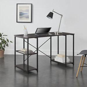 B-WARE Schreibtisch + Regal Bürotisch Computertisch Arbeitstisch Walnuss/Schwarz
