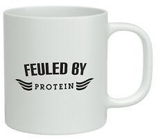 Fueled by Protein White 10oz Mug Novelty Birthday Gift Fitness Exercise Gym