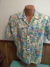 Ocean Pacific Hawaiian Shirt 80'S 1980'S Op Large Button Up Pastel Print Cotton
