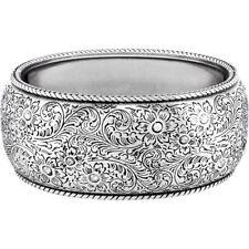 Brighton ALAMEDA Wide Oval Silver Scrolled Magnetic Bangle Bracelet  NWT