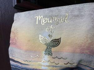 Mermaid Metallic Canvas Nat Life BoHo Wallet Zipper Pouch Make-Up Travel Bag