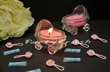 12 PCS Baby Shower Scented Candle Stroller Party Decoration Favor Pink Girl
