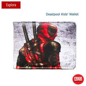 Boys Girls Kids Teenage Bifold PU Leather Wallet -- Deadpool with Katana