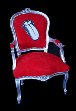 French Louis Armchair Silver Red Rolling Stones Antique Recover Up cycle