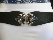 New Women Belt Fashion Hip Waist Elastic Black Thin Crystals Buckle S M L Skinny