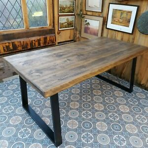 Dining Table Live Edge Style Top Length 160cm Jacobean