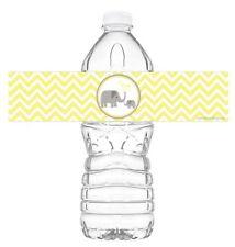 Little Elephant Yellow Bottle Wraps - Set Of 20 - Baby Shower Water Bottle