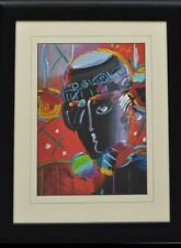 """Peter Max abstract of a man's head mixed media 22"""" x 25"""" framed make offer!"""