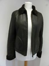 French Connection brown shearling jacket coat S 10 VGC classic casual biker