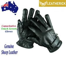 Men Leather Winter Gloves Thermal Sheep Skin Winter Motorcycle Gloves Black