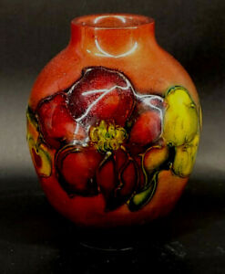 Moorcroft Flambe Clematis Bulbous Vase Made in England mABC