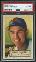 1952 Topps BB Card #124 Monte Kennedy New York Giants PSA EX-MT 6 !!