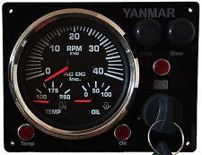 Yanmar Marine Engine Panel , Black, ABYC + Fully Wired, Diesel, Black Gauge Kit