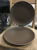 """Set of 2 IKEA OF SWEDEN 219 63 BROWN STONEWARE 11"""" Dinner PLATES Very good shape"""