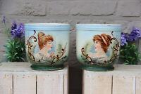 PAIR  art nouveau porcelain portrait lady romantic jardiniere planter vase