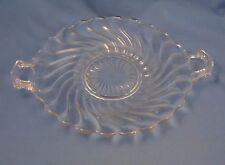 "Fostoria Colony - Handled Cake Plate - 12-3/8"" - Swirl - Pattern 2412 - Clear"