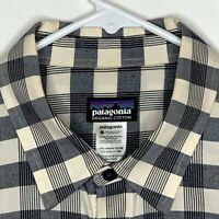 Patagonia Mens Casual Shirt LS Blue White Plaid Medium