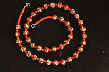 Vintage Cloisonne Murano Glass Necklace Red Floral Beads 23 12""