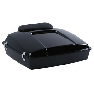 Vivid Black Razor Pack Trunk Chopped Backrest For Harley Tour Pak Touring 97-13