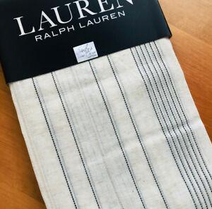Ralph Lauren LINEN Window Panels Curtains SHEER Blk Natural Hemstitch Ophelia 96