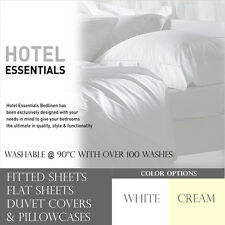 Hotel Essentials Solid Full Bed Sheets Fitted / Flat Sheet Duvet Covers & Cases