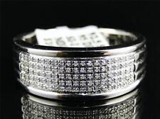 White Gold Finish Mens Round Diamond Pave Set Engagement Wedding Band Ring 8MM
