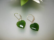 Top quality natural green Jade smaller heart sterling silver leverback earrings