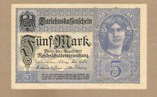 GERMANY: 5 Mark Banknote,(AU),P-56b, 01.08.1917,No Reserve!