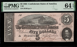 T-69 $5 1864 Confederate Currency CSA - Graded PMG 64 EPQ - Choice Uncirculated